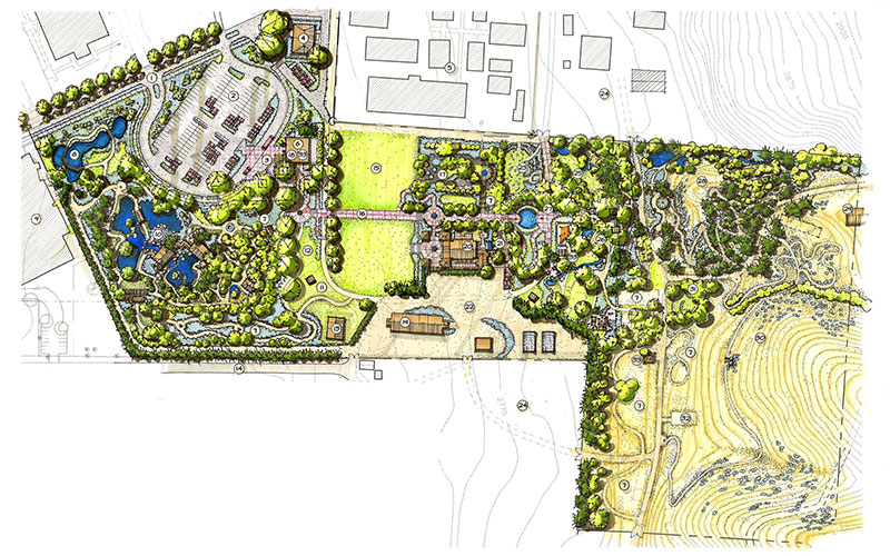 Pen and marker drawing Masterplan of the Idaho Botanical Garden