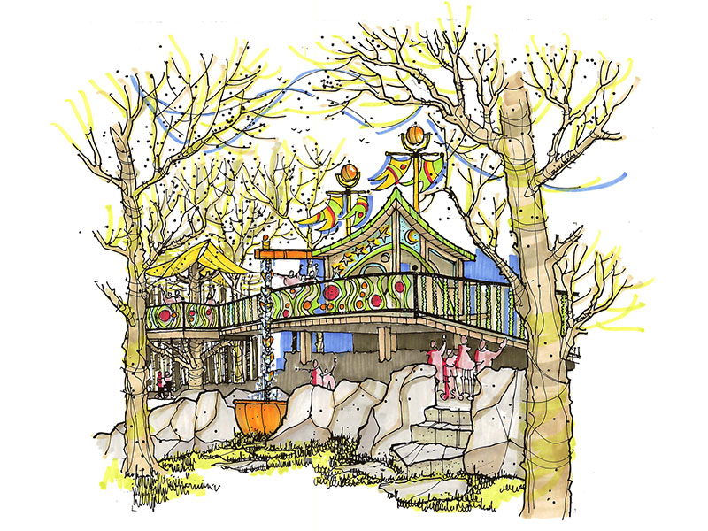 Marker drawing of tree house design
