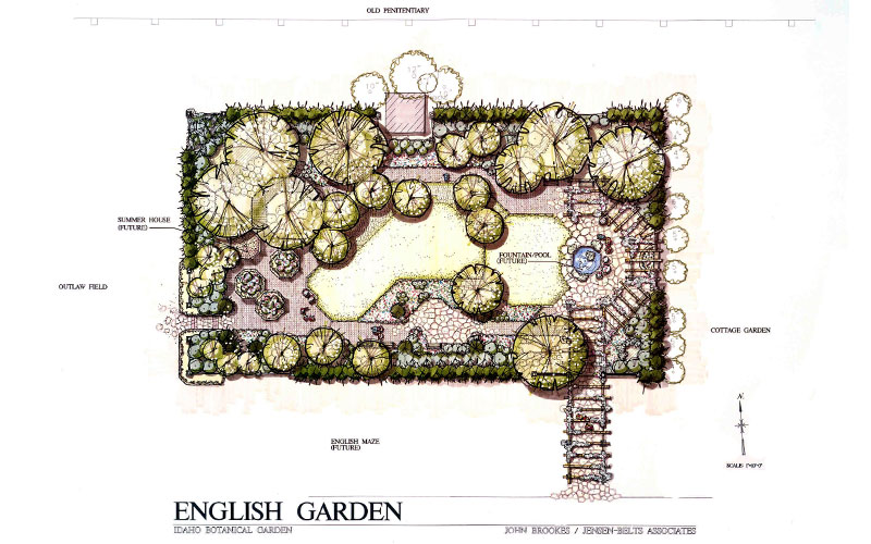 Pen and marker drawing of the English Garden plan for the Idaho Botanical Garden