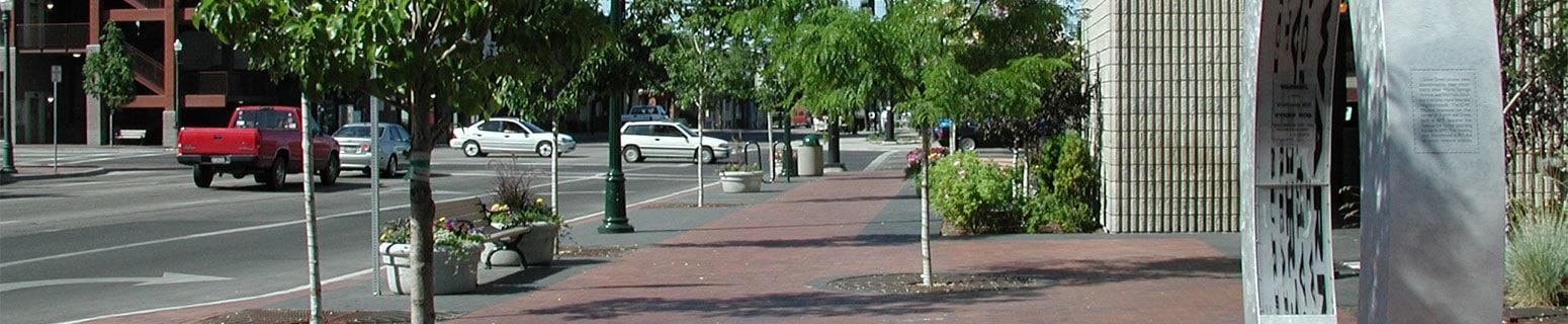 Grove Garage Plaza sidewalk landscaping