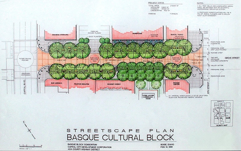 Pen and marker drawing of the Basque Block streetscape plan.