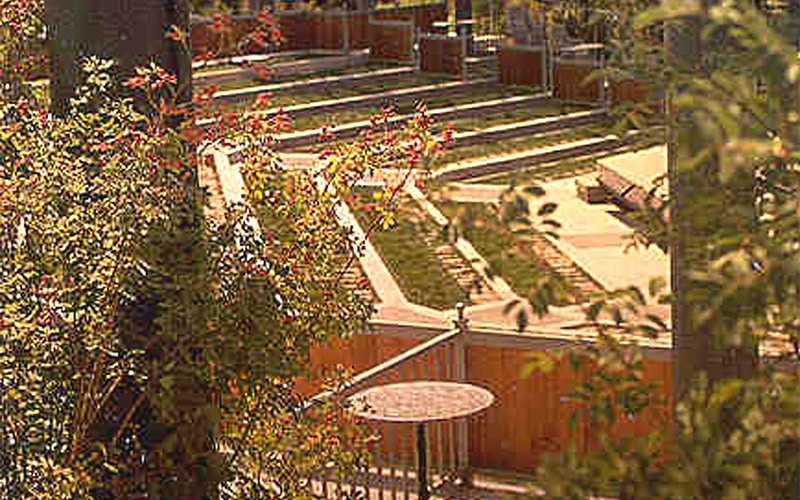 View from balcony of natural ampitheatre seating