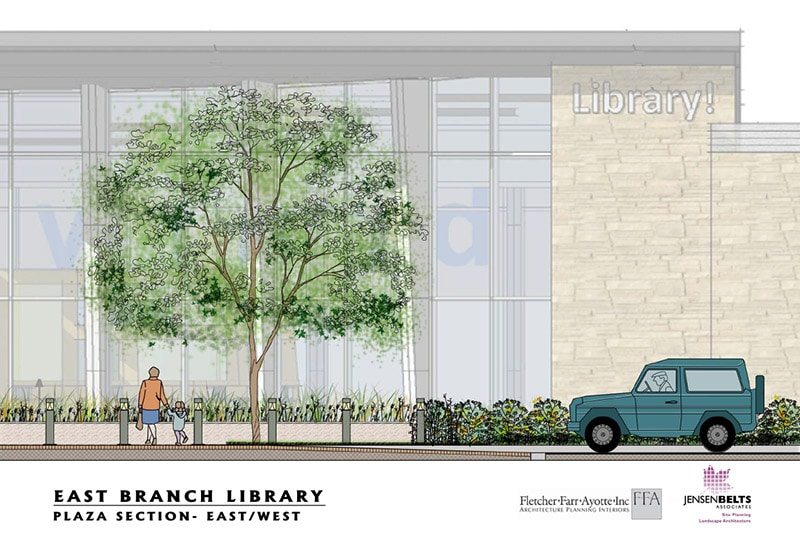 Digital rendering of proposed front entrance landscaping