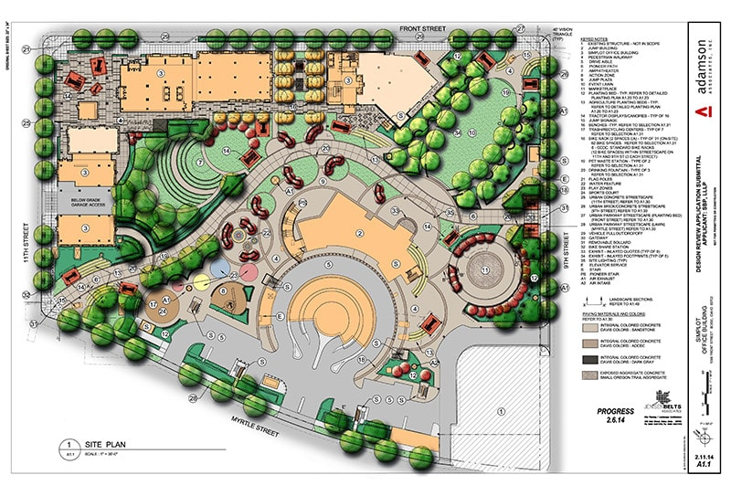 Master plan showing aerial view of site and landscaping
