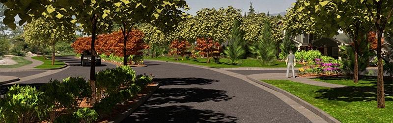 3-D digital rendering of neighborhood street and landscaping