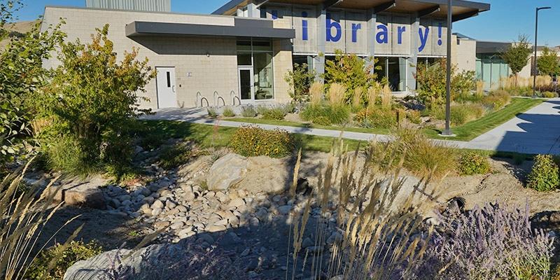 Natural stone drainage near library entrance