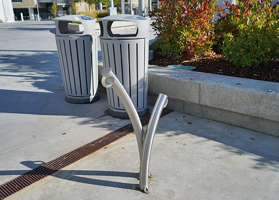 Abstract, curved bike racks.