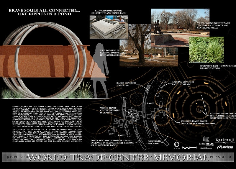 Informational panel showing digital rendering of memorial sculpture within proposed location